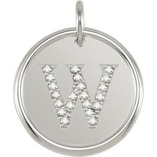 Posh Mommy Jewelry Initial W Roxy Pendant with Diamonds, Silver or 14K Gold