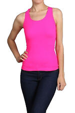 Neon Seamless Basic Rib-Knit Racerback Tank Top One Size Athletic Sport T-Shirt