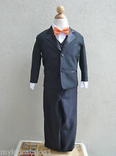 Black boy tuxedo formal suit teen toddler ring bearer bridal party color bow tie