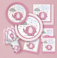 BABY SHOWER PARTY UMBRELLAPHANTS PINK GIRL TABLEWARE DECORATIONS