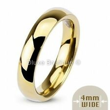 4mm Wide 14k Gold Plated Classic Comfort Fit Wedding Ring Band Size 4-13