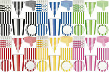 STRIPEY PAPER BIRTHDAY PARTY TABLEWARE PINK GREEN BLUE BLACK RED YELLOW STRIPES
