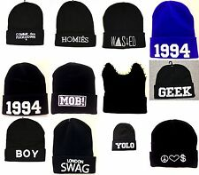 COMME DES F*CKDOWN BOY SWAG WASTED YOUTH GEEK MEOW 1994 BLACK BEANIE HAT