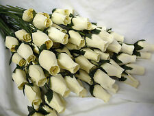 MOTHERS DAY ARTIFICIAL FLOWERS IVORY CREAM OFF WHITE EVERLASTING WOODEN ROSE