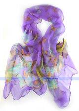 12 Color 100% Silk Shawl/Scarf Butterflies Oblong Scarf