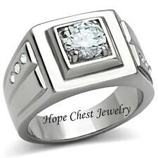 MEN'S 2.30 CT SILVER STAINLESS STEEL 4 PRONG AAA CUBIC ZIRCONIA RING -SIZE 8 -13