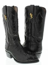 Men's genuine crocodile alligator head black western cowboy boots j toe rodeo