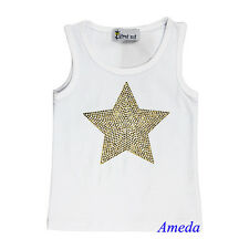 Elegante Mädchen Gold Glanz Strass Stern weiß Tank Top Party T-Shirt 3M-10Y