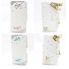 1x 3d Bling white leather wallet card flip diamond skin case cover Lg Optimus