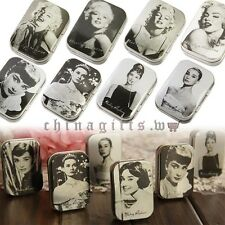 One Free Random Choose Hepburn Monroe Iron Tin Boxes Jewelry Gift  Storage Boxes