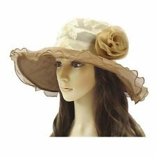 Women's Ladies Wedding Dress Hat Wide Brim Derby Gauze Hat Church Tea Party Hat