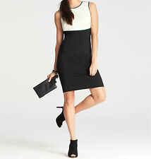 Ann Taylor Ponte Tipped Colorblocked Sheath Dress Size 10 NWT Black Color