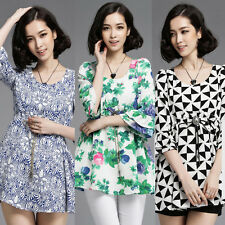 Fashion Women Empire Waist Floral Slim Party Summer Formal Mini Dress Tops S-XXL