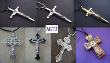 PICK YOUR CRUSIFIX and NECKLACE Silver Gold Cross Jesus Pendant with Necklace