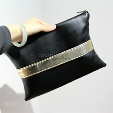 New Chic X Shape Black Faux Leather Clutch Handbag Purse IT BAG With Wrist Band