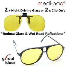 MEDIPAQ™ 2x Pairs Night Driving Glasses or Clip-On's -Reduce Glare Dazzle Vision