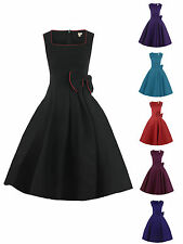 NEW VINTAGE 1950s ROCKABILLY BLACK PURPLE BLUE RED BOW SWING PARTY EVENING DRESS