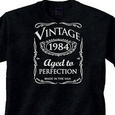 "31st BIRTHDAY Black T-Shirt OLD WESTERN Style ""Vintage 1984"" 31 Year BDay"