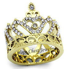 WOMEN'S GOLD TONE PRINCESS TIARA CROWN QUEEN LIGHT LAVENDER CRYSTAL RING SZ 5-10