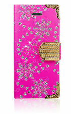 Bling Diamonds Flower Flip Leather Wallet Case Cover For Samsung Galaxy S3 Mini