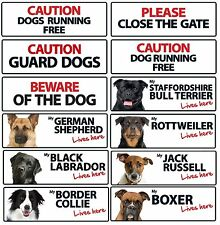 Text and Dog Breed Landscape Plastic Signs