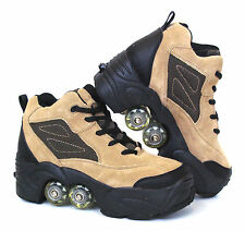 Kick Roller Skate Shoes 4 wheels retractable *BN* BEIGE 50%OFF FOR 2nd PAIR