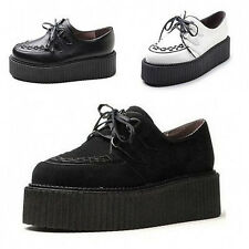 Fashion Womens Faux Suede Lace Up Punk High Platform Flat Creeper Shoes US5-9