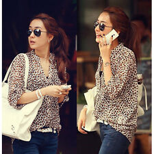 Fashion Womens Sexy Chiffon Leopard Print T Shirt Casual Tops Button Down Blouse