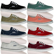 T1A Womens Lace Up Pumps Flat Canvas Ladies Plimsolls Girls Trainers Shoes Cheap