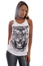 Tiger Face Print Animal Wild Life Casual Womens Cotton New Vest Tank Top S M L