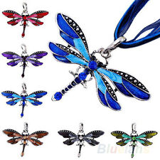 Retro Lady Dragonfly Charms Necklace Chain Rhinestone Inlay Gemtone Pendant B54U