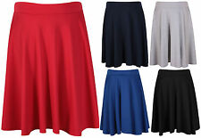 Womens New Plain Stretch Ladies Full Flared Swing Skater Midi Skirt Plus Size
