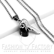 Girl's Women's Stainless Steel Necklaces Set Key Black Heart Lock Pendants P70