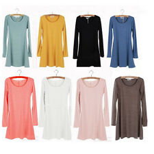Korean Style Women Solid Plain Soft Long Sleeve Mini Dress Skirts Fashion