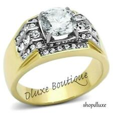 3.35 CT ROUND CUT AAA CZ 14K GOLD PLATED STAINLESS STEEL RING MEN'S SIZE 8-13