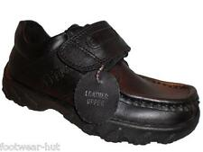 BOYS BLACK LEATHER QUALITY SCHOOL SHOES EASY VELCRO FASTENING SIZE 8 9 10 11 12
