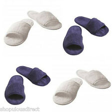 NEW 100% COTTON Towelling slippers mules White Blue TOWEL CITY Fabric Open toe