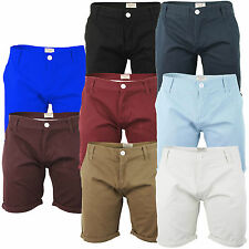 New Mens Designer Brave Soul Fence 100% Cotton Chino Shorts Patch Fold Up