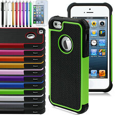 Hybrid Rugged Rubber Matte Combo Soft Case Hard Cover For Apple iPhone 5S 5