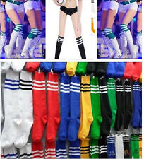 New Thigh High Sock Over Knee Leg Sock Stocking Girl Women Stripe Cheerleader