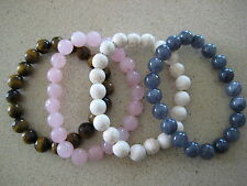 YOU PICK 10mm Beaded Bracelet ~ Tiger Eye, Pink Quartz, Turquoise, Charcoal etc