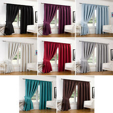 Luxury Faux Silk Blackout Curtains Including Tiebacks - All Colours & Sizes