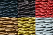 2 core 0.75mm twisted braided fabric electrical lighting flex cable per metre