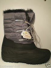 WOMENS WINTER SNOW WATERPROOF BLACK/GREY BOOTS FURRY LINED HEAT INSULATION NEW