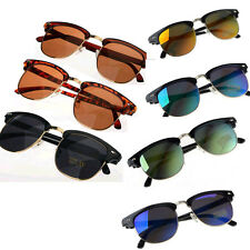 New Half Gold Frame Clubmaster Style Sunglasses Vintage Retro Unisex Sunglasses