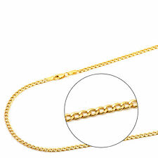 14K Yellow Gold 2.5mm Hollow Curb Cuban Chain Necklace