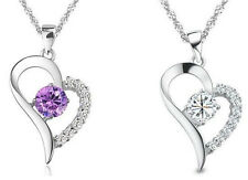 Womens 925 Sterling Silver Necklace Chain Amethyst Crystal Heart Pendant Gift