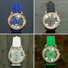 Choice Strada Austrian Crystal 18k Rose Gold Stainless Steel Silicone Band Watch