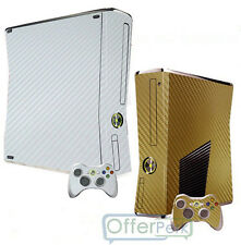 Bling Gold Carbon Fiber Skin Sticker For New XBOX 360 Slim & 2 Controller Cover