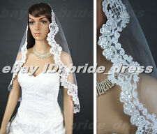 New White/ Ivory Alencon Lace Crescent edge Wedding Veil+ Comb